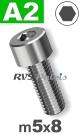 m5x8mm / per stuk - cilinderkopschroef A2