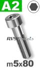 m5x80mm / per stuk - cilinderkopschroef A2