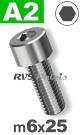 m6x25mm / per stuk - cilinderkopschroef A2
