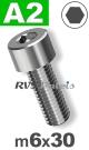 m6x30mm / per stuk - cilinderkopschroef A2