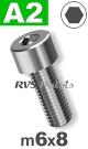 m6x8mm / per stuk - cilinderkopschroef A2