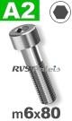 m6x80mm / per stuk - cilinderkopschroef A2