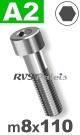 m8x110mm / per stuk - cilinderkopschroef A2