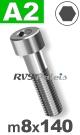 m8x140mm / per stuk - cilinderkopschroef A2