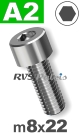 m8x22mm / per stuk - cilinderkopschroef A2