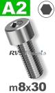 m8x30mm / per stuk - cilinderkopschroef A2