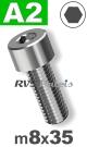m8x35mm / per stuk - cilinderkopschroef A2