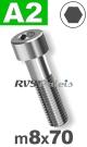 m8x70mm / per stuk - cilinderkopschroef A2
