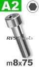 m8x75mm / per stuk - cilinderkopschroef A2