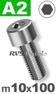 m10x100mm / per stuk - cilinderkopschroef A2