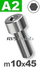 m10x45mm / per stuk - cilinderkopschroef A2