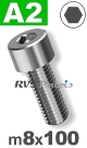 m8x100mm / per stuk - cilinderkopschroef A2