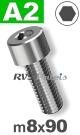 m8x90mm / per stuk - cilinderkopschroef A2