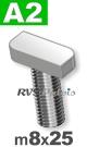 m8x25mm / per stuk - hamerkopschroef A2