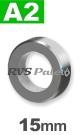 15mm / per stuk - stelring met stelschroef A2