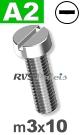 m3x10mm / per stuk - cilinder schroef A2