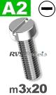 m3x20mm / per stuk - cilinder schroef A2
