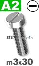 m3x30mm / per stuk - cilinder schroef A2
