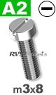 m3x8mm / per stuk - cilinder schroef A2