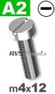 m4x12mm / per stuk - cilinder schroef A2