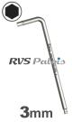3,0mm zeskant / per stuk - RVS (INOX) inbussleutel