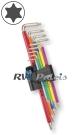 Torx sleutelset 9-delig / per set - RVS (INOX) multicolor